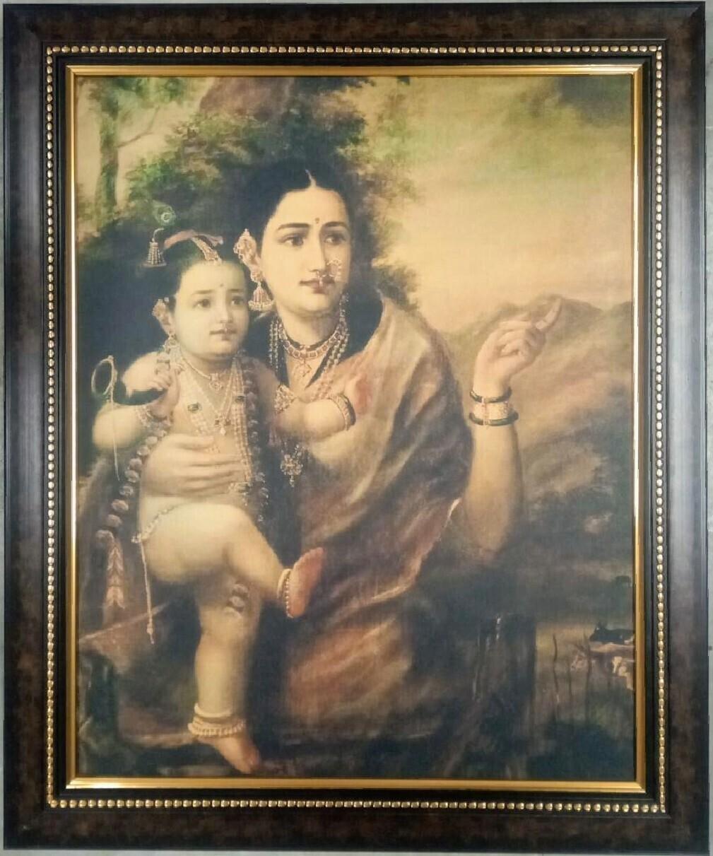 Lord Sri Krishna and Yashoda Picture (Raja Ravi Varma Art Copy Printed) with Frame