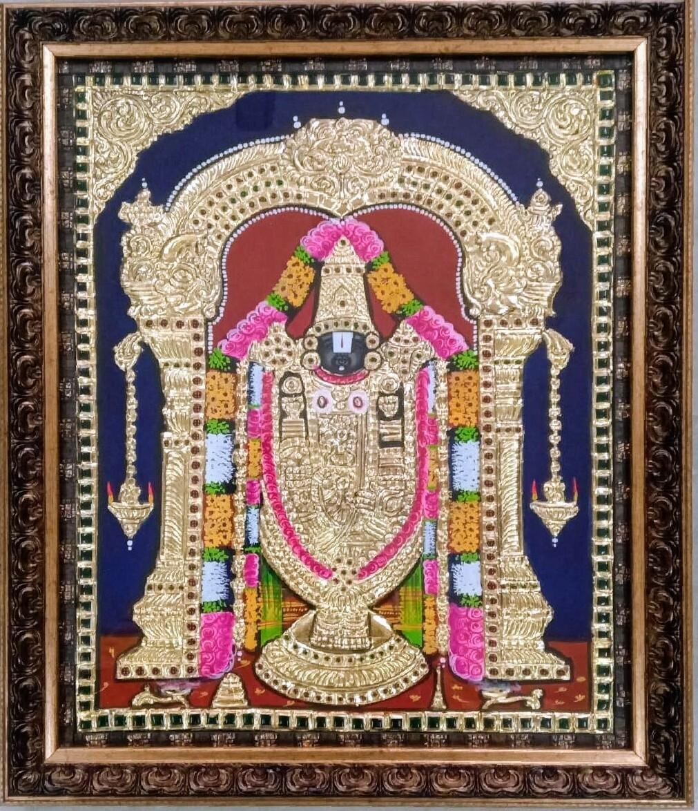 Lord Balaji - Tanjore Art work Gold Foil Frame