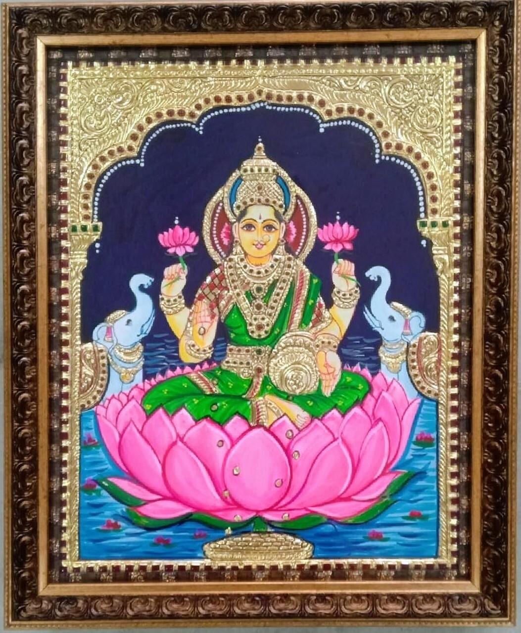 Goddess Lakshmi Devi - Tanjore Art work Gold Foil Frame