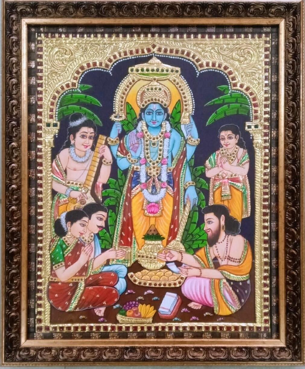 Lord Satyanarayana Swamy - Tanjore Art work Gold Foil Frame
