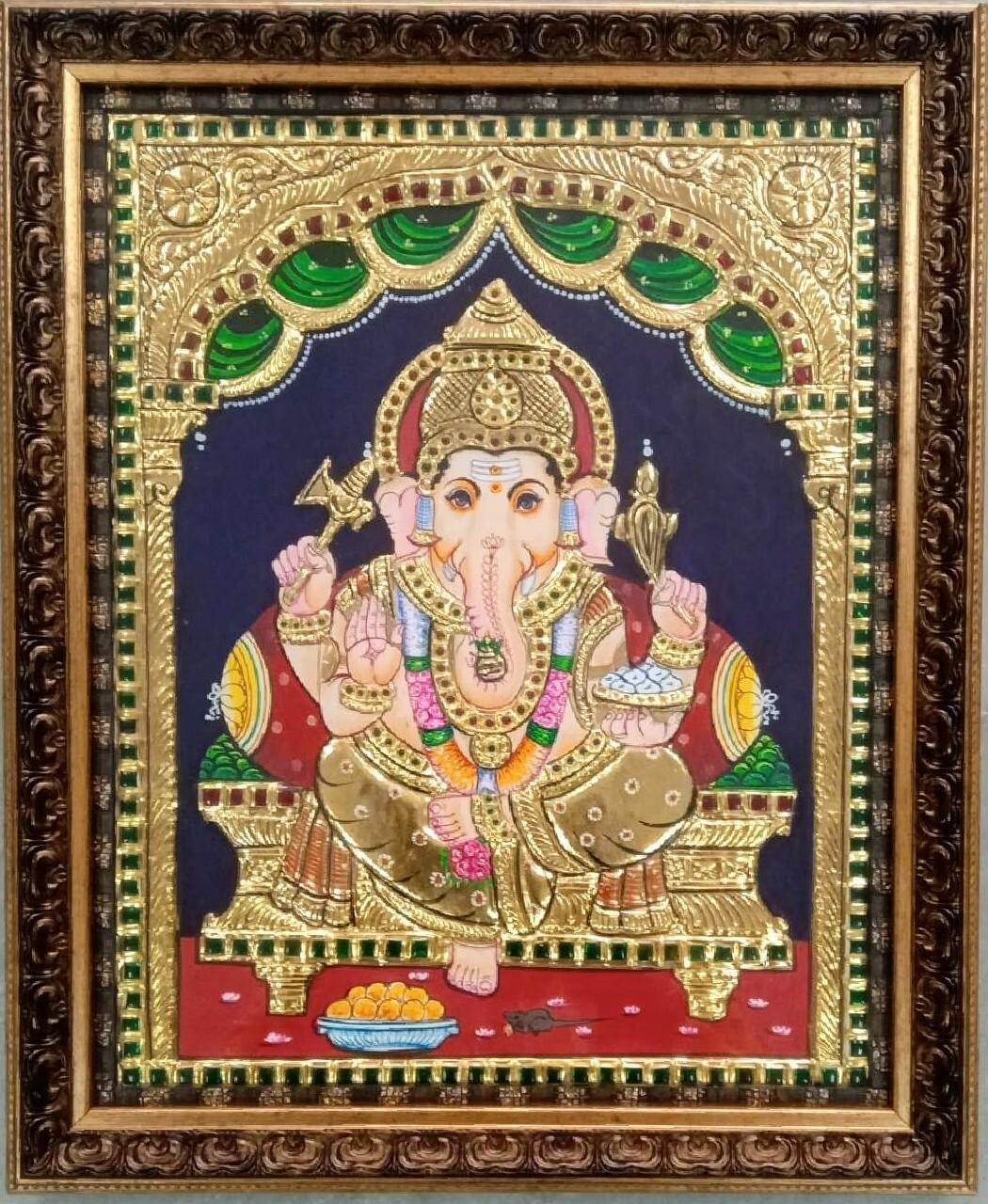 Lord Ganesh - Tanjore Art work Gold Foil Frame