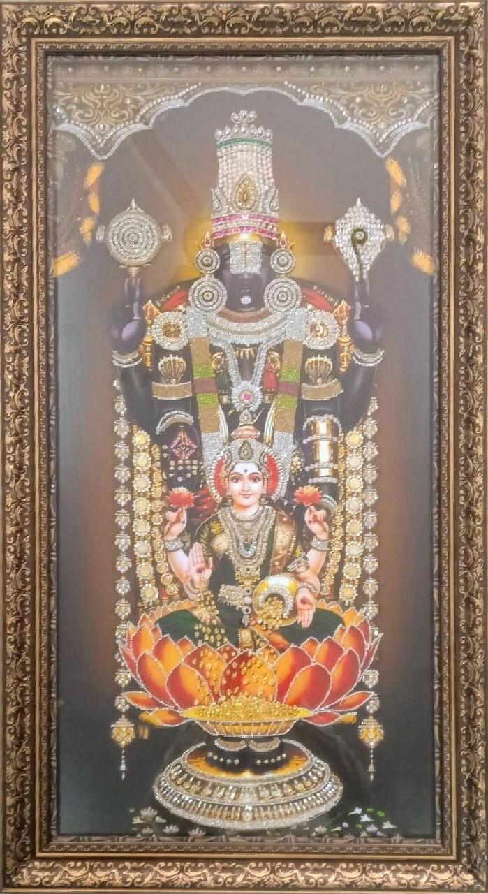 Lord Balaji & Goddess Lakshmi with stone work Photo Frame