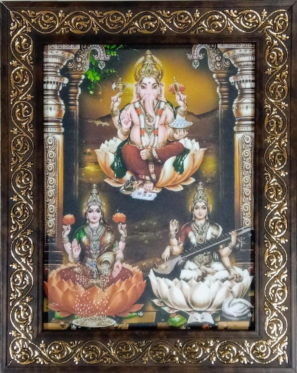 Lord Ganesh, Goddess Lakshmi & Saraswati Photo Frame