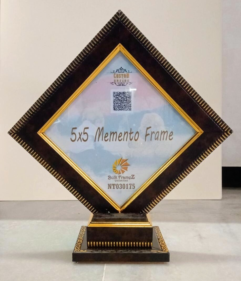 """Memento Photo Frames 5"""" x 5""""  - Gold color lining (Upload your Photo or Certificate here)"""