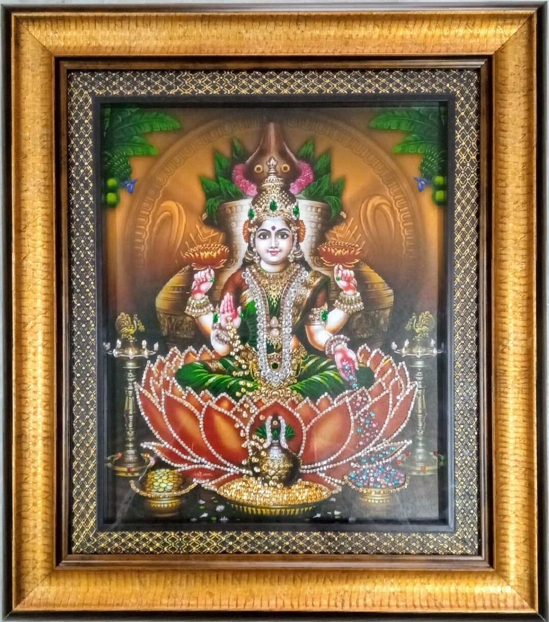 Goddess Lakshmi Photoframe with rich stone work