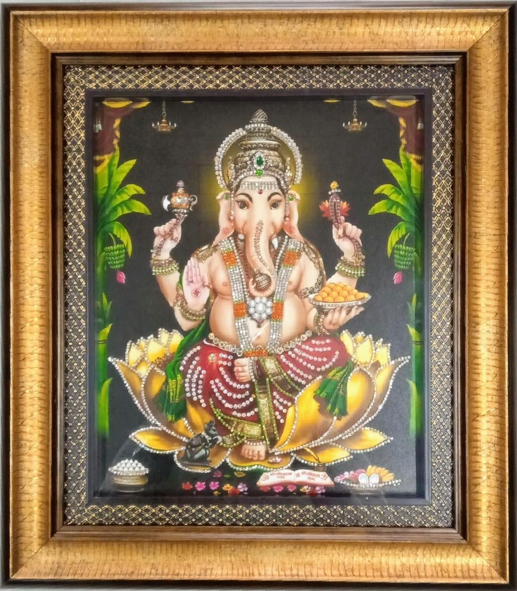Lord Ganesh Photoframe with rich stone work