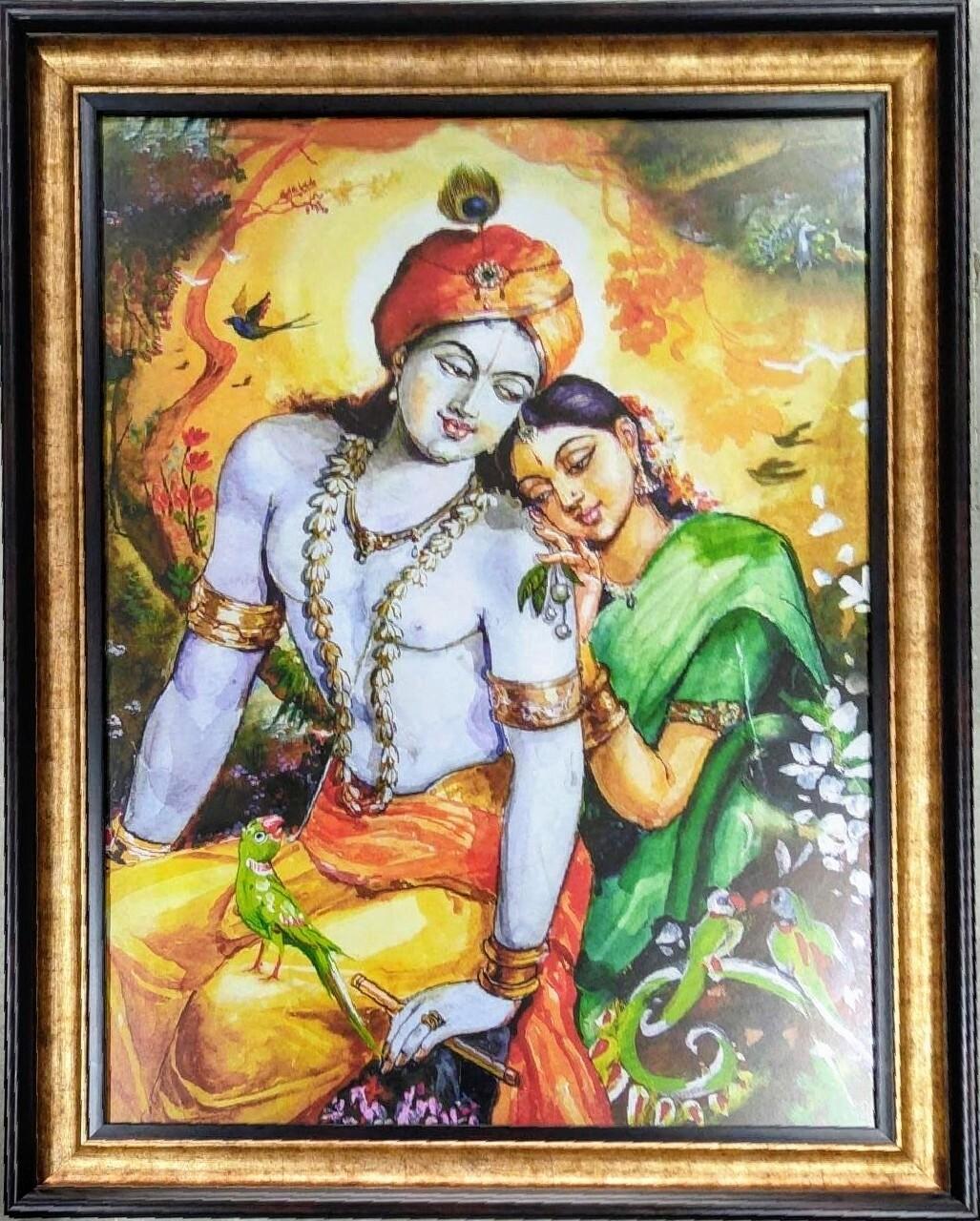 Lord Krishna and Radha Devi Art Photoframe