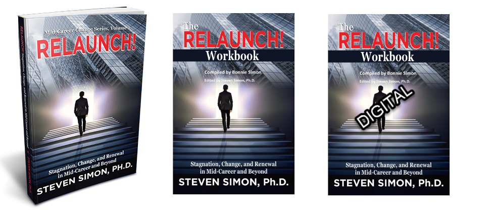 RELAUNCH! Stagnation, Change, and Renewal in Mid-Career and Beyond with both DIGITAL and HARD COPY of RELAUNCH! Workbook.  FREE SHIPPING!