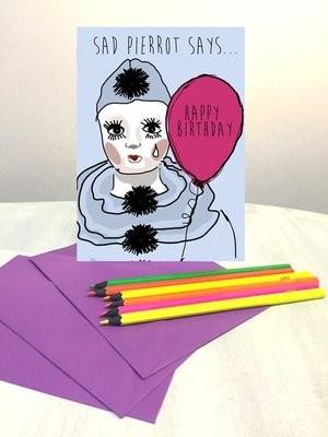 Sad pierrot birthday card