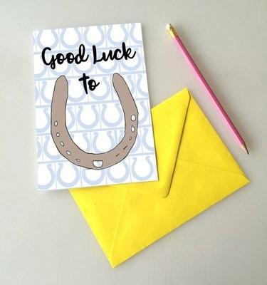 Horse shoe good luck card