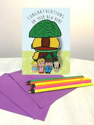 Vintage toy treehouse moving home card