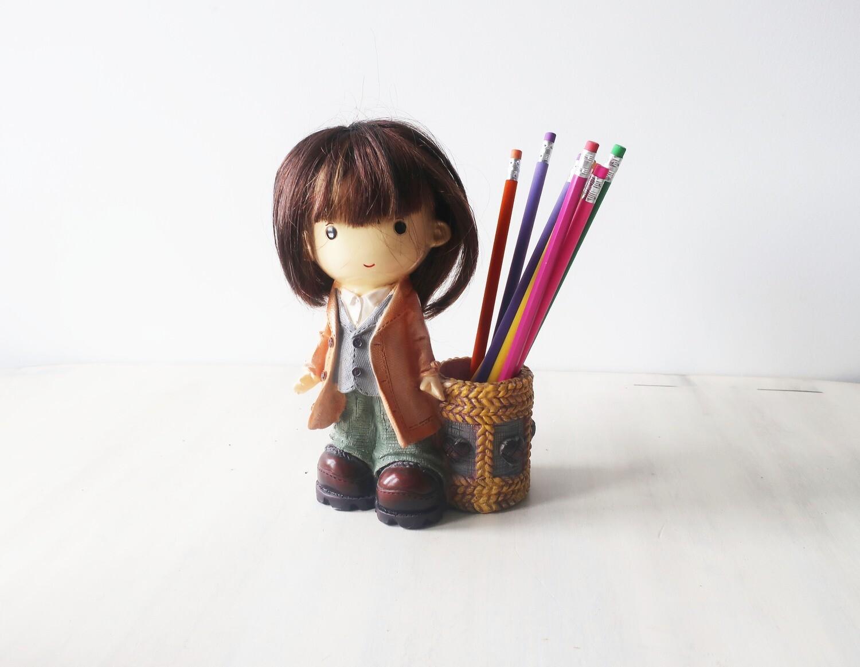 Cute Little girl pen pot