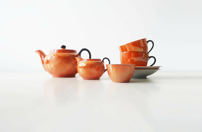 Orange Czech Lustreware Miniature teaset