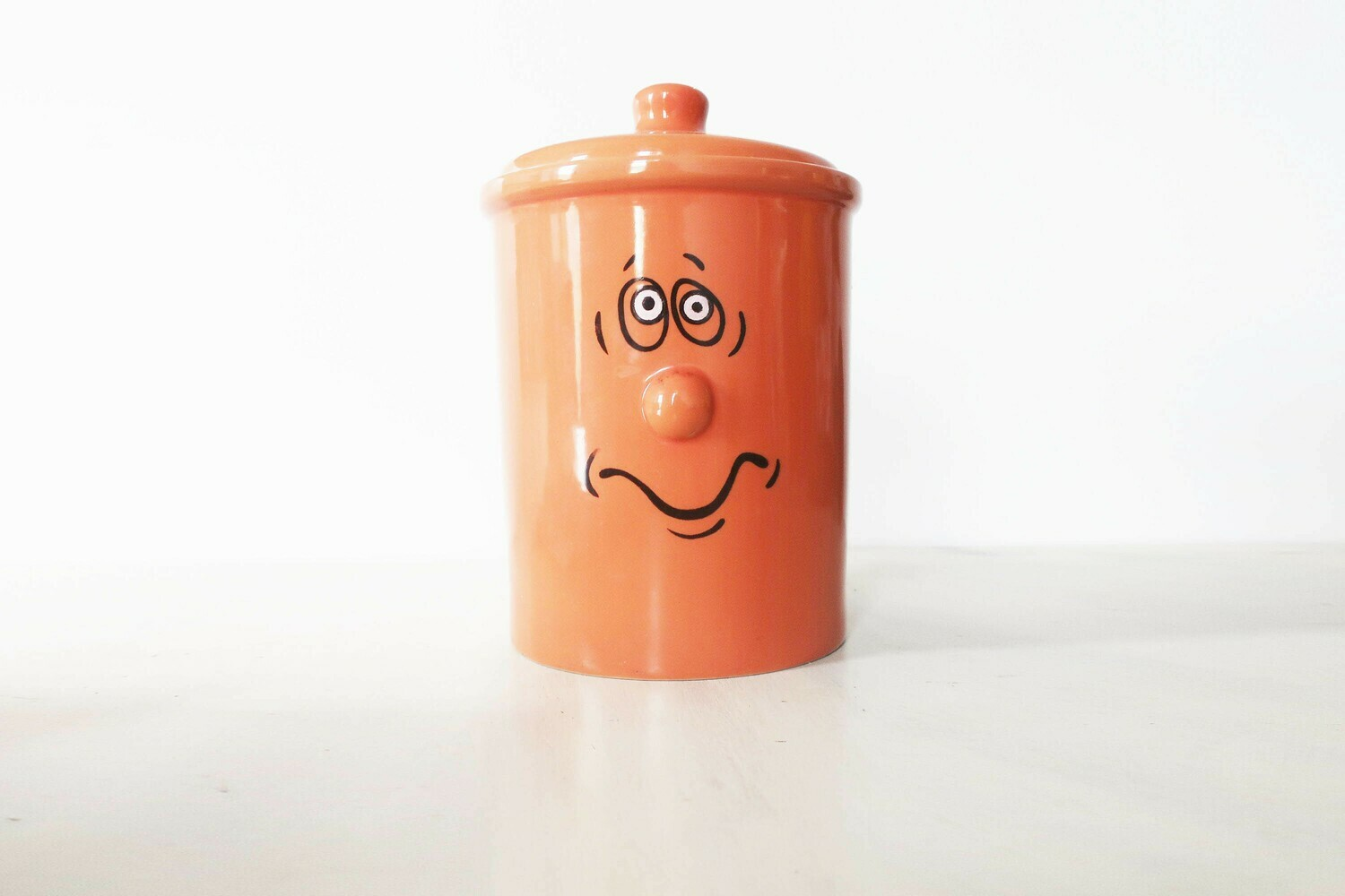 Orange 80's large funny cookie jar