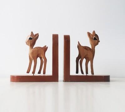 Cute Deer Vintage Wooden Bookends
