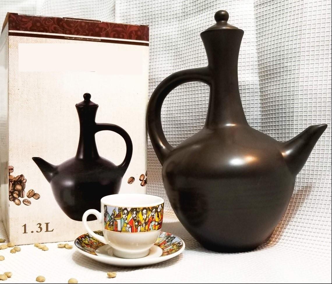 Ethiopian Traditional Coffee Pot | Black | Jebena ጀበና
