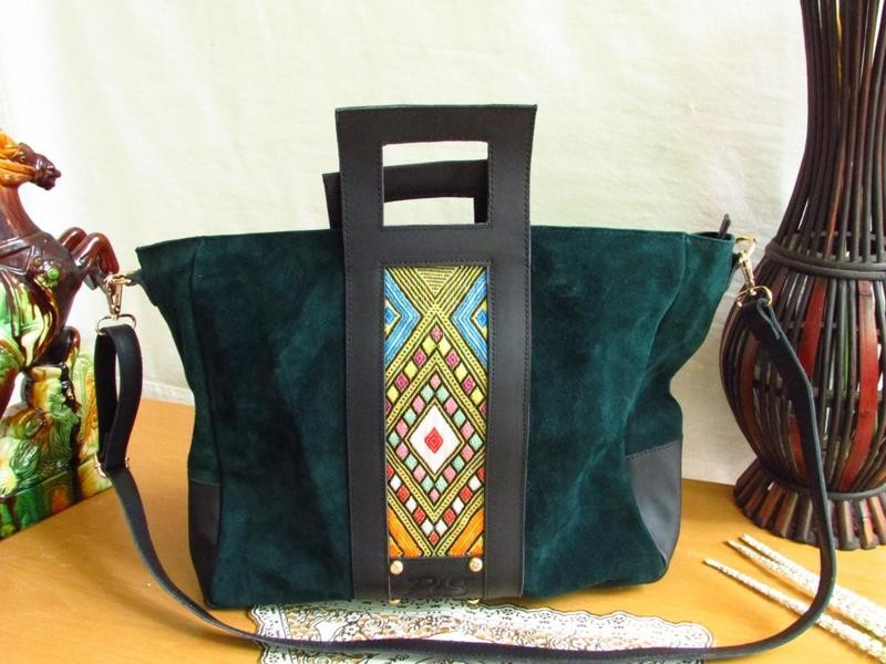 Green Suede Leather Women Tote Bag