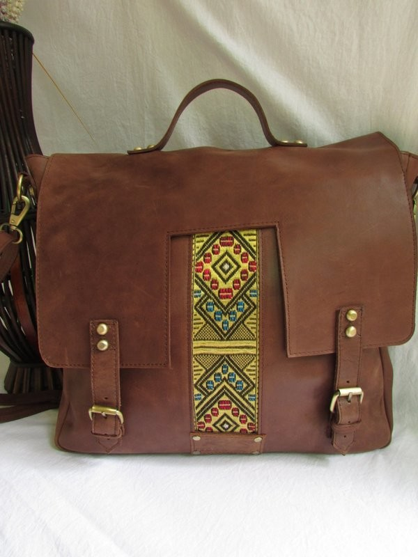 Brown leather laptop bag for men