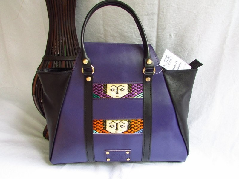 Purple leather handbag for women