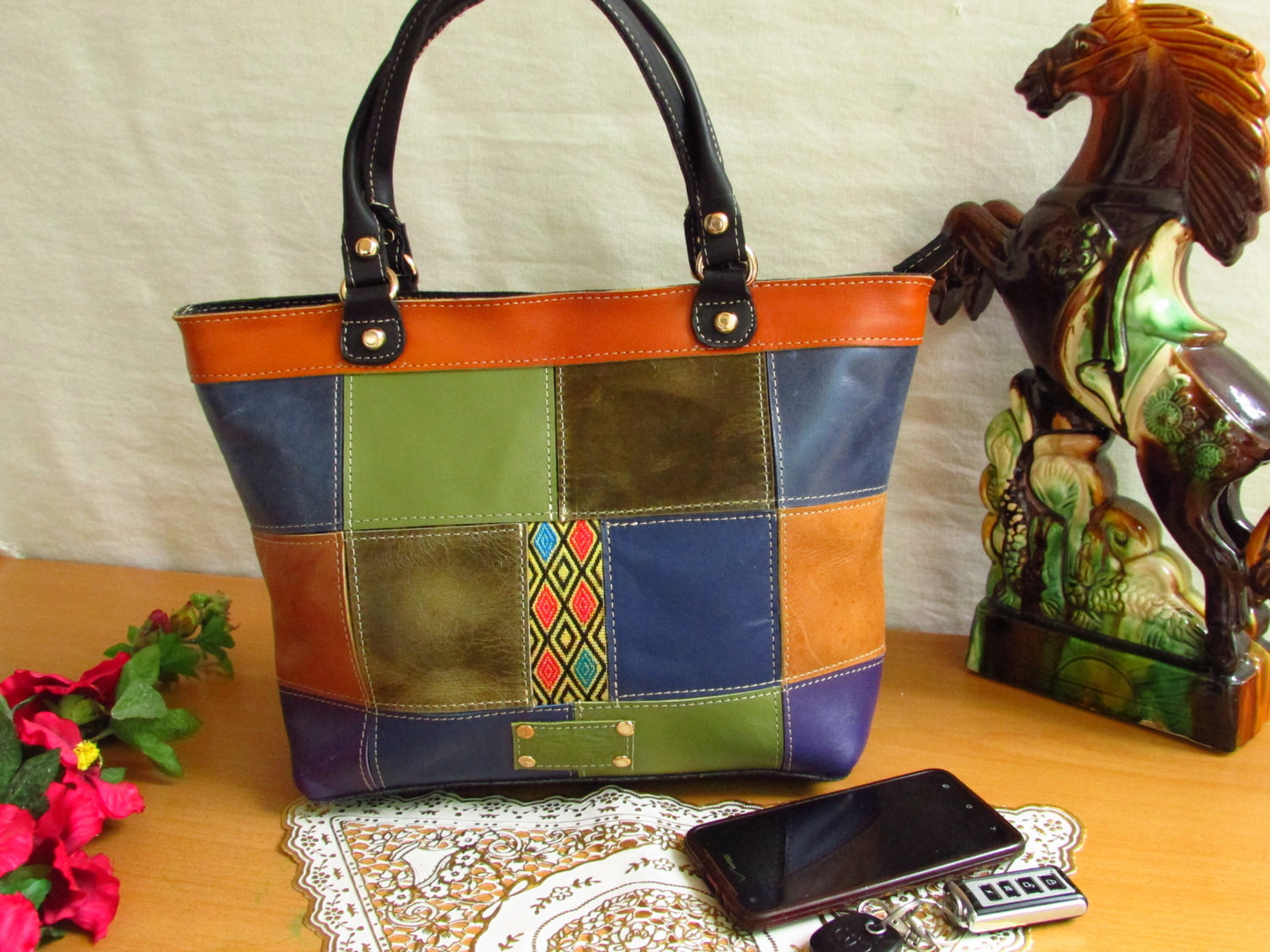 Colorful Leather women handbag Women Handbag