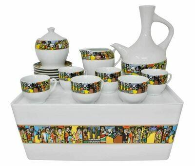 Ethiopian Traditional Coffee Set Tilet and Saba Design የቡና ማቅረቢያ ጀበና እና ሲኒ ሙሉ ሴት ከረከቦት ጋር ጥለት ወይም ሳባ ዲዛይን