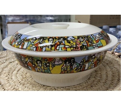 Ethiopian traditional bowls with lid Saba and Tilet Design ጎድጓዳ ሳህን ሳባ እና ጥለት ዲዛይን
