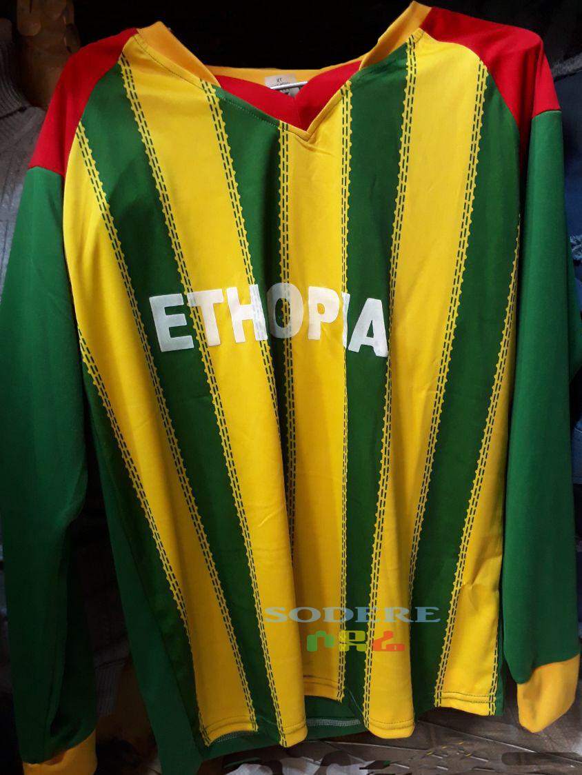 የኢትዮጵያ ማልያ እጅጌ ሙሉ ቲሸርት Ethiopian National Team Full Slim Jersey