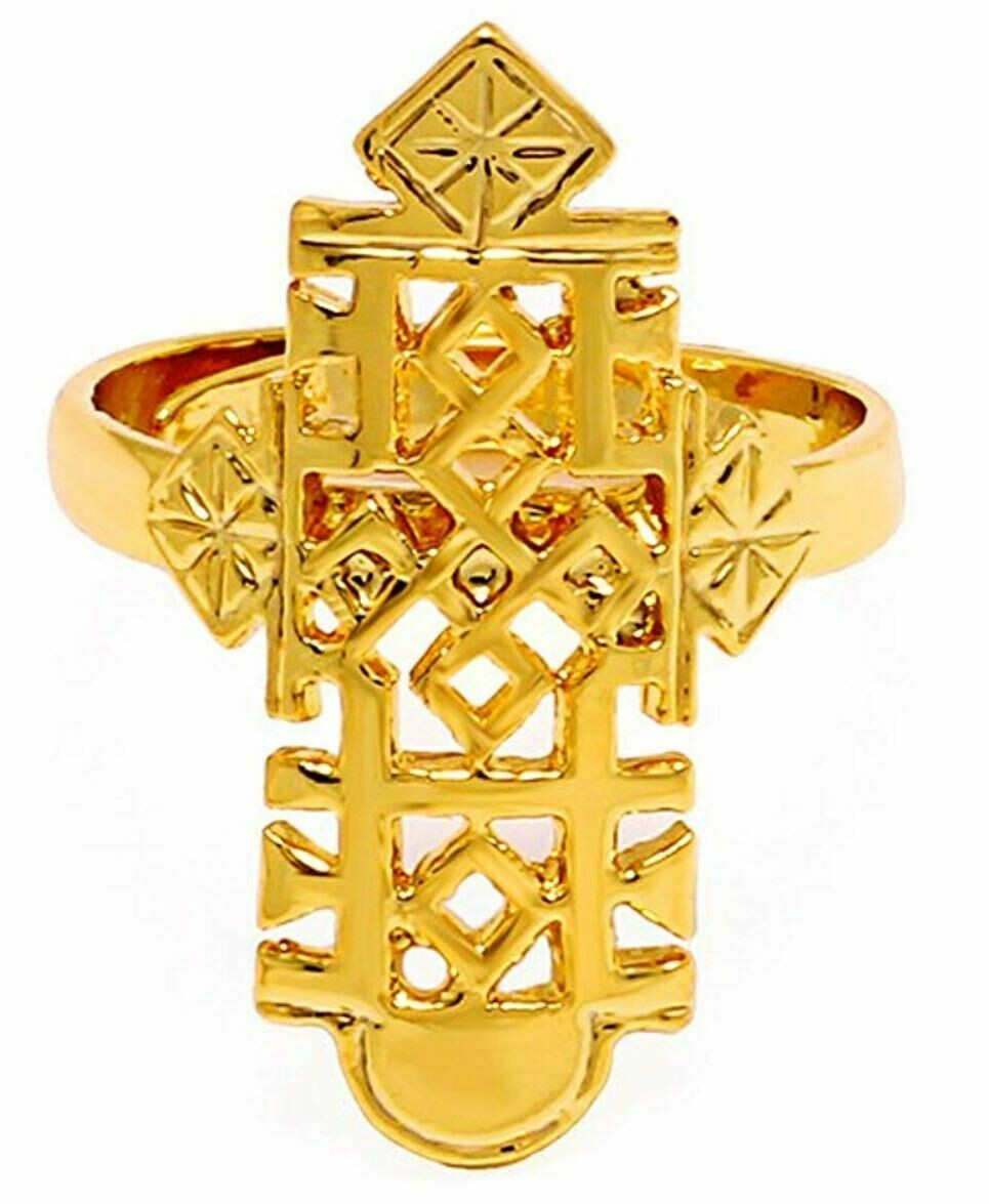 ቀለበት ወርቅ ቅብ መስቀል Ethiopian cross ring