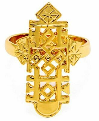 ቀለበት ወርቅ ቅብ መስቀል Ethiopian cross ring