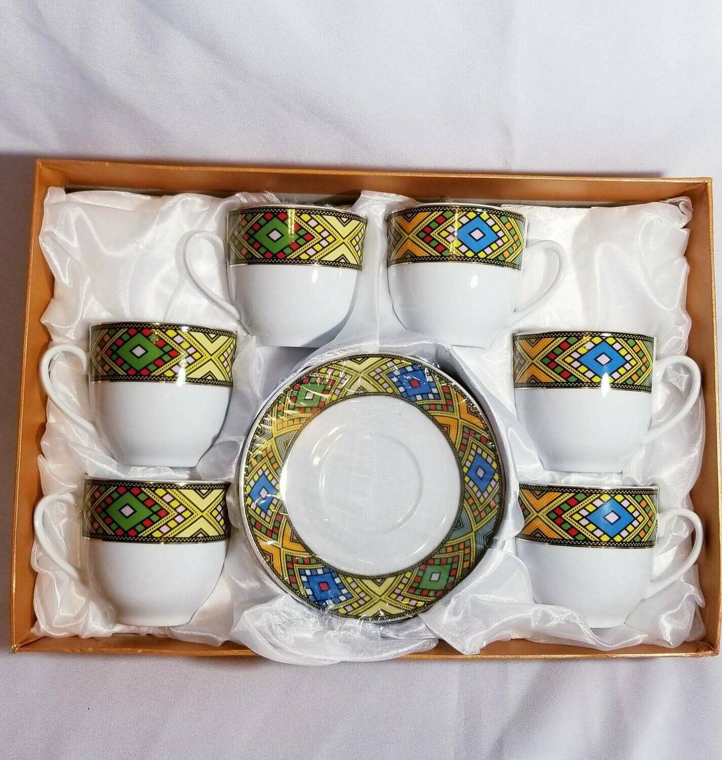 Ethiopian tea set የሻይ ስኒዎች ከማስቀመጫ