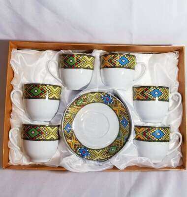 Ethiopian tea set የሻይ ስኒዎች ከማስቀመጫ