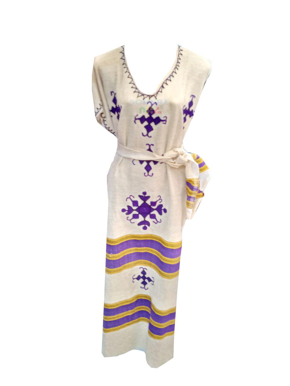 ረዘም ያለ የሀበሻ ልብስ  Ethiopian Traditional Long Dress/ free size