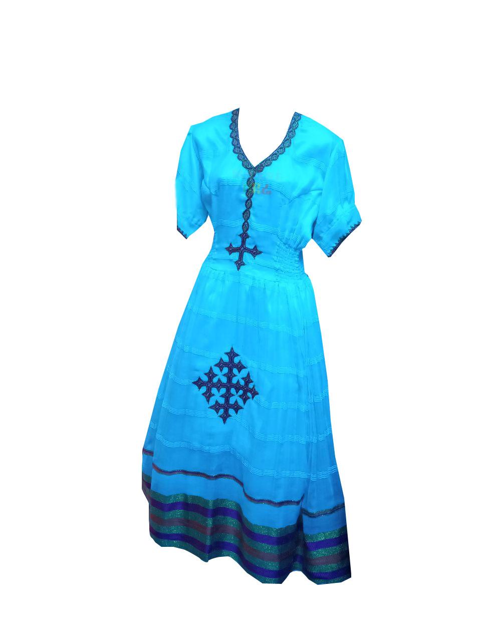 አጓጉል የሀበሻ ልብስ Ethiopian Traditional Midi Dress