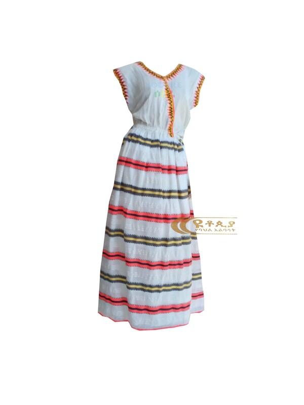 ረዘም ያለ የሀበሻ ቀሚስ  Ethiopian Traditional Long Dress / Designed By ዩቶጲያ Traditional Cloth