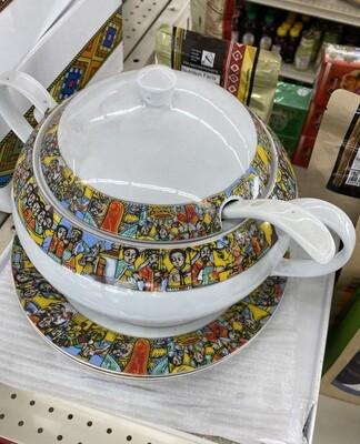 የምግብ ማቅረቢያ ጎድጓዳ ሳህን፣ ጭልፋ Ethiopian serving bowl with ladle
