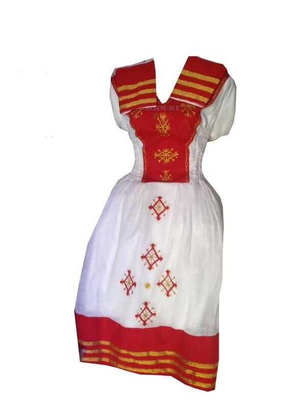 አጠር  ያለ የሀበሻ ቀሚስ  Ethiopian Traditional Short Dress