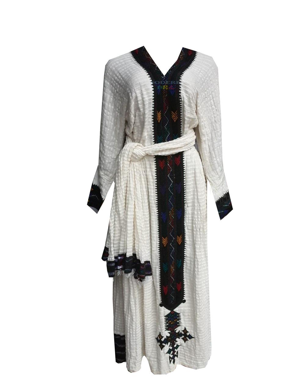በጥልፍ የተሰራ ረዘም ያለ የሀበሻ ልብስ  Ethiopian Traditional Long Dress