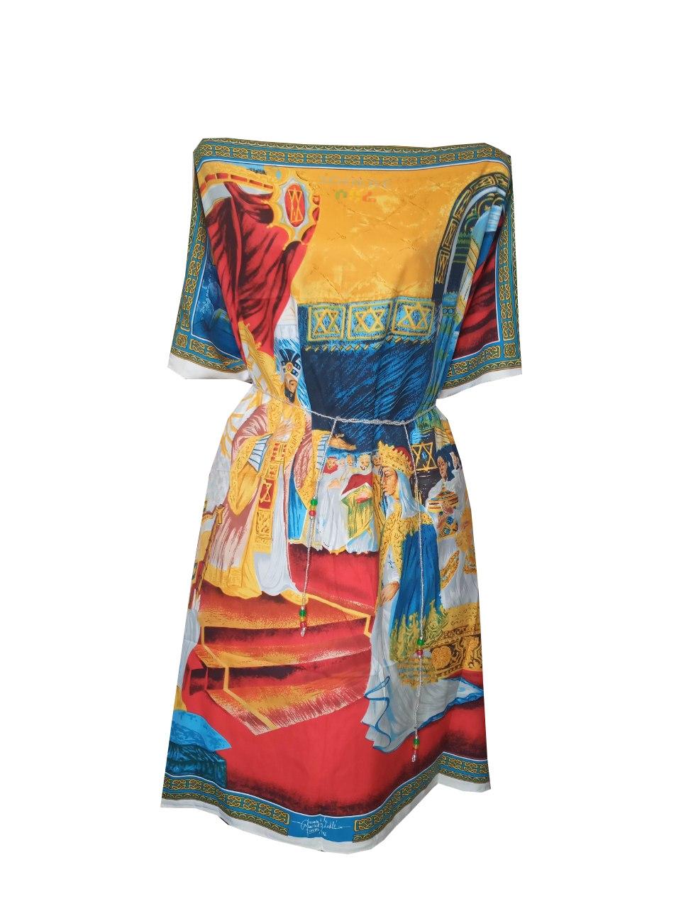 የዓለም ሎሬት ሜትር አርቲስት አፈወርቅ ተክሌ ስእሎች ያለበት የሴቶች አጭር ቀሚስ   Women Short Dress / free size