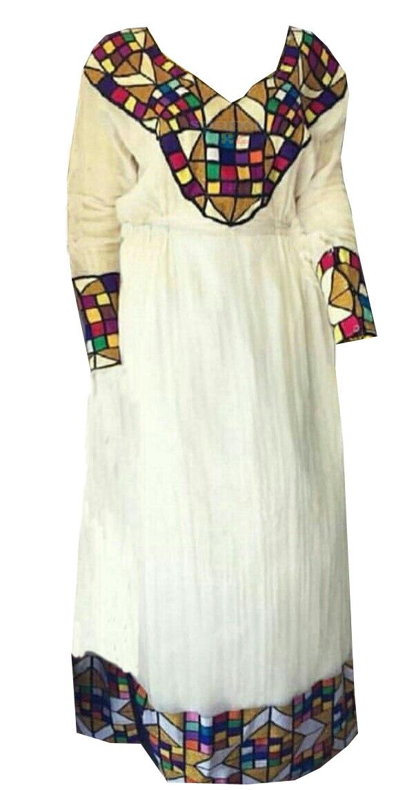 በጥልፍ የተሰራ ረዘም ያለ የሀበሻ ቀሚስ  Ethiopian Traditional Long Dress
