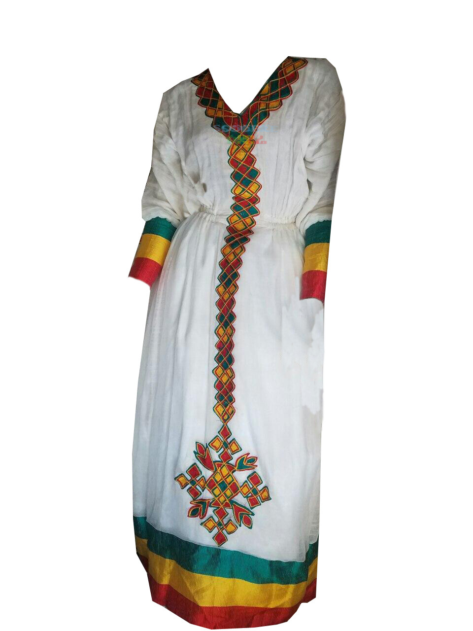 የኢትዮጵያ ባንዲራ ያለበት ረዘም ያለ የሀበሻ ቀሚስ  Ethiopian Traditional Long Dress