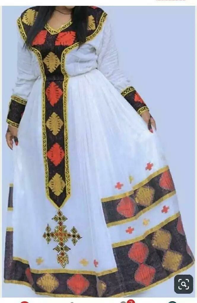 በእጅ የተጠለፈ ረዘም ያለ የሀበሻ ቀሚስ  Ethiopian Traditional Long Dress
