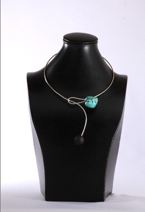 Silver Turquoise And Volcanic Stones Necklace