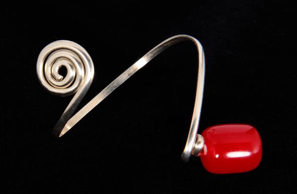 Silver Harer Red Amber Bangle Bracelet
