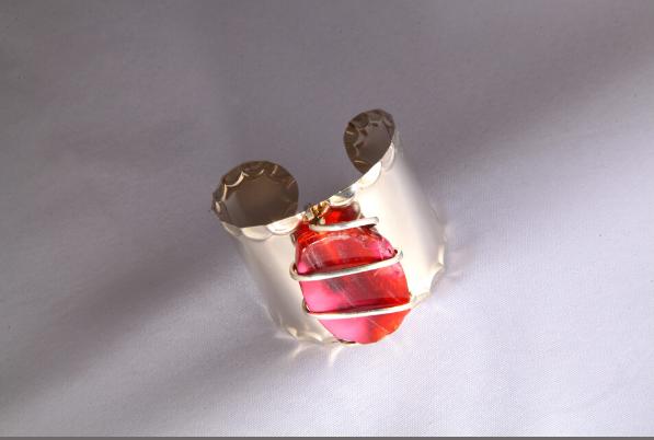 Silver Amber Red Agate Cuff Bracelet