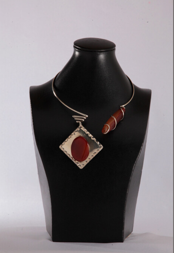 Silver Amber Red Agate Necklace