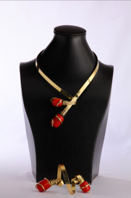 Bronze And Red Harar Amber Stone Necklace Bracelet Set