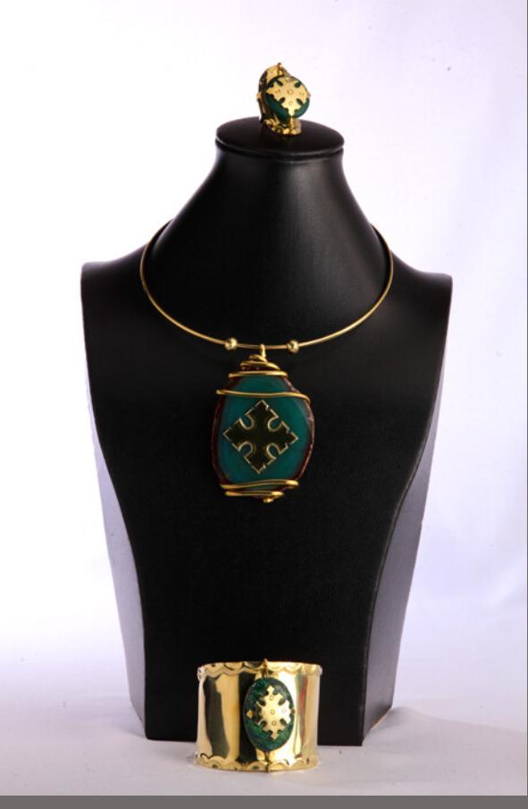 Bronze Necklace Bracelet Ring Set On Green Agate Stone