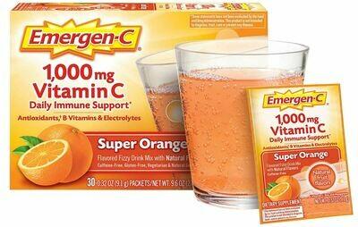 ቫይታሚን ሲ Emergen-C, Vitamin C 1000mg Pwdr Sup Orange, 30 Ct