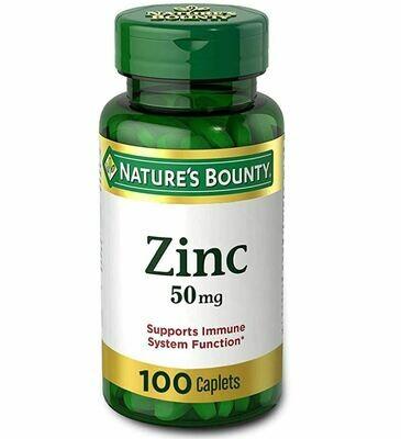 ዚንክ 50 ግራም 100 Nature's Bounty Zinc 50 mg Caplets 100 ea