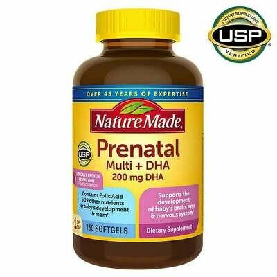 ቅድመ ወሊድ መልቲ ቫይታሚን እና ዲ ኤችኤ Prenatal Multi + DHA, 150 Softgels